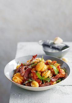 gnocchi + bacon + arugula gareth morgans