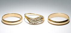 Lot 162: 14k Gold Rings; Three rings with one having eighteen round cut diamond chips; all having stamped 14k gold marks