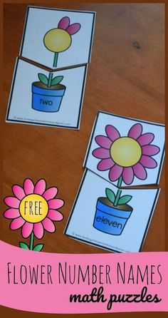Free Flower Number Names Puzzles FREE Flower Number Names - these fun, hands on math puzzles are a great way for preschool, prek, kindergarten, and first graders to practice number words from and counting at the same time. Perfect for math center Preschool Math, Fun Math, Math Games, Preschool Classroom Centers, Seeds Preschool, Multiplication Games, Pre K Activities, Kindergarten Activities, Hands On Learning Kindergarten