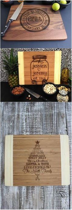 Personalized and custom engraved cutting boards are an amazingly thoughtful gift for a housewarming or wedding & engagement gift. These are great for the couple or person who loves to cook! | Made on Hatch.co by independent designers & professional makers who care.