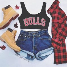 Image via We Heart It https://weheartit.com/entry/169335265 #black #brands #chic #fashion #girly #outfit #red #shoes #shorts #style #summer #t-shirt #bulls #grungefashion #timberlands