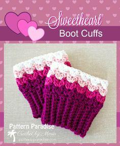 FREE Crochet Pattern - Sweetheart Boot Cuffs | Pattern Paradise Crochet Boots, Crochet Gloves, Crochet Headbands, Knit Hats, Crochet Boot Cuff Pattern, Crochet Patterns, Crochet Ideas, Hat Patterns, Crochet Projects