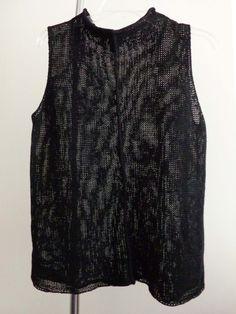 Eileen Fisher sweater lagenlook top black artsy art to wear quirky linen sz L #EileenFisher #TurtleneckMock