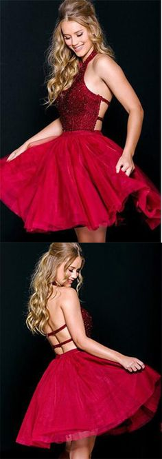 Sexy A-Line Halter Backless Burgundy Short Homecoming Dress With Beading PM12