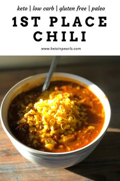 This bean free chili is low carb, hearty, and the first place winner in a chili cook-off! Perfect for the crockpot or stove top! Only 8 net carbs per serving!