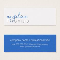 Professionally Stylish (Blue) Mini Business Card - script gifts template templates diy customize personalize special