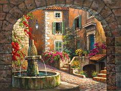 Fountain de Village-Counted cross stitch pattern by Maxispatterns