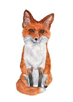 Fox print watercolor fox painting watercolor by ThimbleSparrow