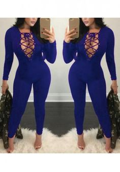 Blue Plain Hollow-out Drawstring High Waisted Long Jumpsuit-12137479601-00