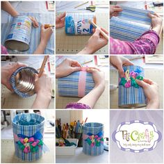 Make a trash bin made out of a baby formula can.