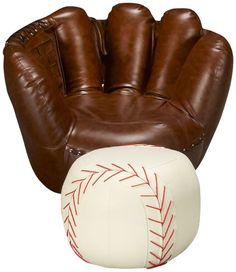 baseball glove chair & ottoman jordan's furniture $299.99