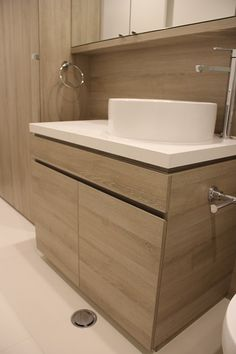 Aqueous Apartments- Bathroom cabinetry using Egger 18mm board and 50mm Eurolight in Molina sand.