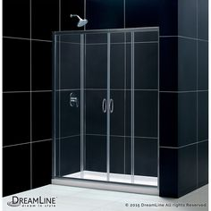 Visions 60-inch x 34-inch x 74.75-inch Framed Sliding Shower Door in Brushed Nickel with Center Drain White Acrylic Base