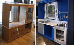 old furniture into kids' play furniture - very clever!