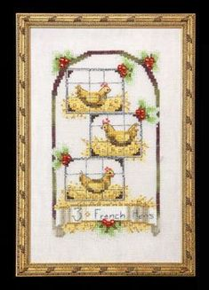 Three French Hens - 12 Days of Christmas - Cross Stitch