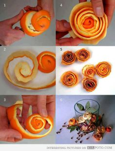 How to make orange peel roses - Funny how-to for making amazing roses from orange peel in 6 easy steps.