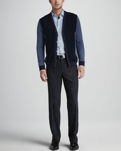 Colorblock Cardigan, Multi-Striped Shirt & Paisley-Print Scarf Pants. Win Neiman Marcus discount Gift Cards on http://www.cityhits.com and use them towards fall outfits like this one. #mens #fashion #fall2013