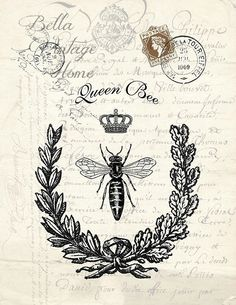 Vintage Labels Botanical Queen Bee Print, Pillow, Note Cards, Tea Towel - Original artwork created from vintage bookplates, etchings Vintage Bee, Vintage Labels, Fake Tattoo, Bees And Wasps, Bee Art, Bee Happy, Bees Knees, Queen Bees, Bee Keeping