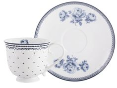 Inspired by the heritage art of Amsterdam, this Spot Cup and Gingham Saucer from the Vintage Indigo collection is a pretty piece from British designer Katie Alice. Capturing the elegance of delftware with a modern twist, stunning dark blue gingham and delicate polka dots contrast against super white porcelain, with a sweet lace trim on the cup with interior floral detail. Inspired by the delft tiles of Rembrandt's house, Vintage Indigo takes the Katie Alice brand in a fresh new direction…