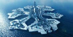 Futuristic city on water. Futuristic City, Futuristic Technology, Futuristic Architecture, Landscape Concept, Fantasy Landscape, Stargate Ships, Monumental Architecture, University Architecture, Sci Fi City