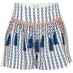 ALPHAMOMENT Shell Shorts ($175) ❤ liked on Polyvore featuring shorts, blue, tassel shorts, summer shorts, embellished shorts, embroidered shorts and blue shorts
