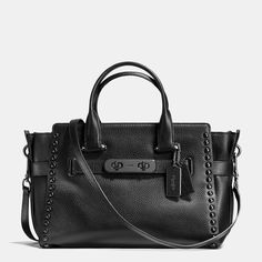 COACH SWAGGER CARRYALL IN LACQUER RIVETS PEBBLE LEATHER
