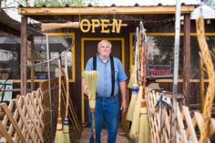 Portrait of Ron Cox of Davis Mt. Broom in Fort Davis, Texas. Ron is an honest, hardworking Texan. We were grateful to meet him in his tiny roadside workshop. #texan