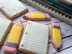 back to school cookies - note paper and pencils