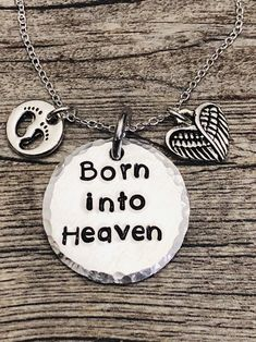 Personalized Born into Heaven, Returned to Heaven, etc - Memorial Necklace - Miscarriage Necklace - Can add a name too for no extra cost! Miscarriage Tattoo, Miscarriage Awareness, Chd Awareness, Mother Of Angels, Baby Tattoos, Baby Loss Tattoo, Mother Tattoos, Baby Memorial Tattoos