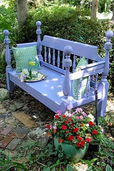 Bed Frame Lavender Bench:  This lavender beauty was constructed from an old bed frame, which this blogger found for cheap on Craigslist.