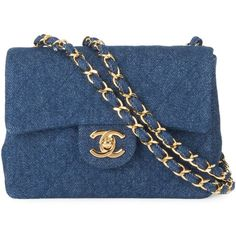 Chanel Vintage denim quilted shoulder bag (£5,515) ❤ liked on Polyvore featuring bags, handbags, shoulder bags, chanel, blue, quilted chain strap shoulder bag, handbag purse, hand bags, quilted shoulder bag and chanel handbags