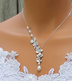 Wedding Jewelry Orchids Necklace . Pearl Necklace by LadyKJewelry