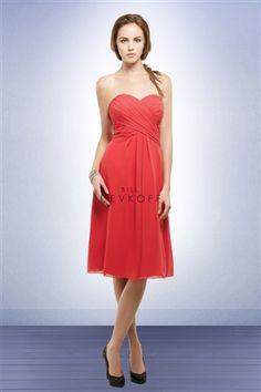 Deep Coral -- Bridesmaid Dress (bill levkoff in persimmon), tons of long chiffon choices