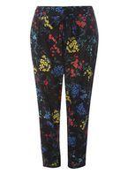 Womens DP Curve Plus Size Multi Coloured Floral Tie Waist Joggers- Multi