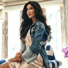 Katrina Kaif in denim jacket. Katrina Kaif Photo, Bicycle Girl, Bollywood Stars, Celebs, Celebrities, Looking Gorgeous, Beautiful Actresses, Indian Beauty, Bollywood Actress
