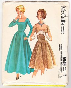 Vintage 1961 McCall's 5949 Sewing Pattern Misses' Dress in Two Lengths