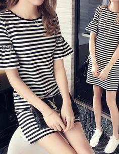 Large size  summer dresses. New Korean Slim  thin speaker sleeve short sleeve women's T-shirt long paragraph.