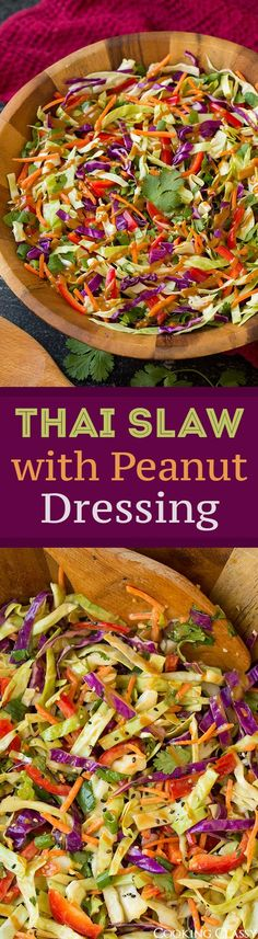 Thai Slaw with Peanut Dressing - easy side dish that's perfect with grilled chicken! Love this dressing! Low Carb Side Dishes, Side Dishes Easy, Vegetarian Recipes, Healthy Recipes, Braai Recipes, Lean Recipes, Healthy Foods, Thia Food, Asian Slaw
