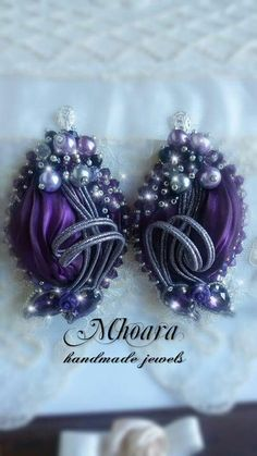Shibori silk earrings 'Deep Purple' MHOARA Handmade Italian Jewels
