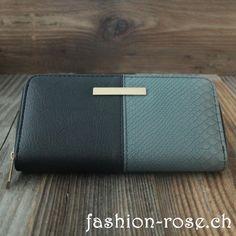Geldbörse Kunstleder zweifarben mit verschiedenen Fächern Continental Wallet, Artificial Leather, Random Stuff, Handbags, Black