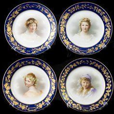 Art Nouveau Dore A Sevres Porcelain Portrait Plates, 19th Century