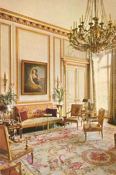 Savonnerie carpet. The rooms of Marie Antoinette, A salon at the Hotel Masserano in Paris.