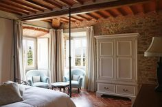Rentable Bedroom from the house used in 'Under the Tuscan Sun'. Lovely wooden ceiling.