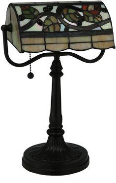 """0-002207>15"""""""" Vineyard 1-Light Bankers Lamp Brown"""