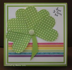 "Happy St. Patrick's Day!    papers from Echo Park Paper Company ""Summer Days""    sentiment: Close To My Heart"