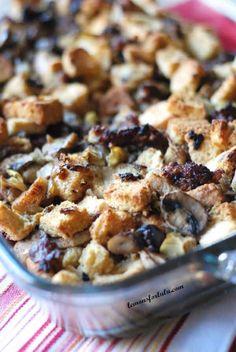 Homemade stuffing with mushrooms, sausage and artichokes! www.lemonsforlulu.com