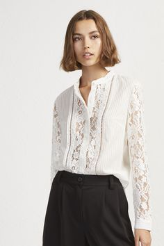 6bfa22df5ea Southside Stripe Lace Mix Shirt | Tops | French Connection Shirt Blouses,  Shirts, Blouses