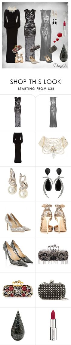 Two is company, three's a crowd by diana-korac on Polyvore featuring Talbot Runhof, Jimmy Choo, Alexander McQueen, Erickson Beamon, Jorge Adeler, Givenchy, La Prairie and Topshop