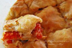 Τη ντοματόπιτα την είχα ακουστά και όταν την είδα φτιαγμένη από τα χεράκια της Ξανθής, πραγματικά την λιμπίστηκα. Την ετοίμασα, λοιπόν, λίγο με τις οδηγίες της και λίγο με τις δικές μου γευστικές πινελιές. Πολύ νόστιμη και σίγουρα διαφορετική! Greek Recipes, Potato Salad, Shrimp, Pie, Potatoes, Bread, Chicken, Cooking, Ethnic Recipes