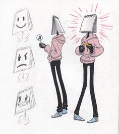 so I heard you guys like object heads I think I'll call him Edgar he's a sad baby who has to draw his face but that can be too hard so he's got a . Character Drawing, Character Concept, Concept Art, Object Heads, Tv Head, Arte Indie, Arte Obscura, Poses References, Character Design References